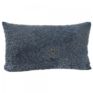 Ethnic μαξιλάρι μπλε βελούδο με χάντρες 50x30 εκ