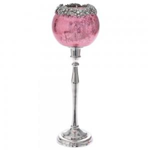 Γυάλινο ροζ κηροπήγιο με ασημί πόδι 8x32 εκ