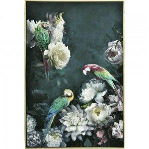 Πίνακας Ζωγραφικής με λουλούδια και παπαγάλους με χρυσή κορνίζα 122x82 εκ