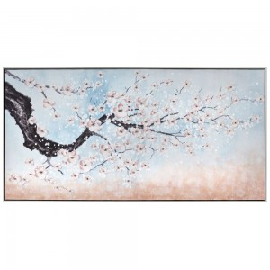 Πίνακας ζωγραφικής ανθισμένη αμυγδαλιά με ασημί κορνίζα 142x72 εκ