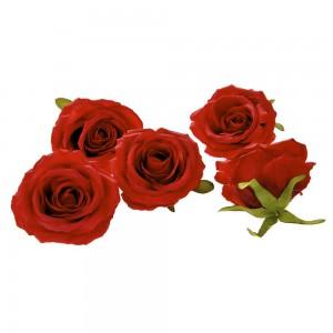 Διακοσμητικά άνθη τριαντάφυλλου σε κόκκινο χρώμα σετ των εικοσιτεσσάρων τεμαχίων 9 εκ