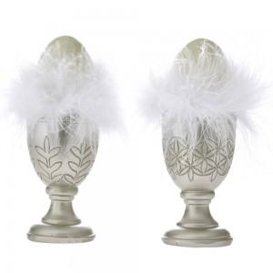 Διακοσμητικά πασχαλινά αυγά με λευκά πούπουλα σε ασημί αυγοθήκη σετ των δύο τεμαχίων 6x14 εκ