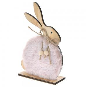 Ξύλινο πασχαλινό διακοσμητικό λαγουδάκι με ροζ γούνα σετ των τεσσάρων τεμαχίων 10x15 εκ