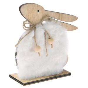 Ξύλινο πασχαλινό διακοσμητικό λαγουδάκι με λευκή γούνα σετ των τεσσάρων τεμαχίων 12x12 εκ
