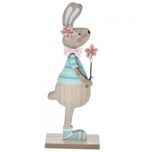 Πασχαλινό ξύλινο διακοσμητικό λαγουδάκι με γαλάζια ρούχα σετ των έξι 9x24 εκ