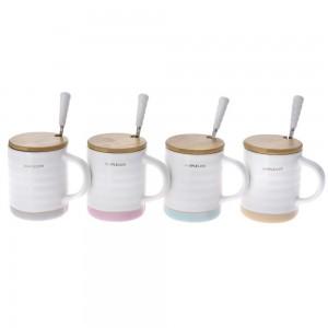 Κεραμική κούπα με μπαμπού καπάκι και κουτάκι σε τέσσερα σχέδια σετ των τεσσάρων