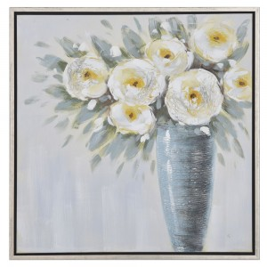 Διακοσητικός πίνακας με γκρι βάζο και λευκά λουλούδια με κορνίζα 85x85 εκ