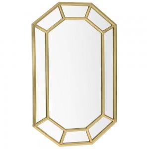 Μεταλλικός καθρέφτης οκτάγωνος με χρυσό σχέδιο 56x90 εκ