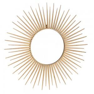 Μεταλλικός καθρέπτης τοίχου με ακτίνες σε χρυσό χρώμα 75 εκ