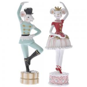 Χριστουγεννιάτικα επιτραπέζια ποντικάκια χορευτές σετ των δύο τεμαχίων 8x8x26 εκ