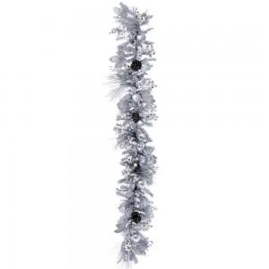 Χριστουγεννιάτικη γιρλάντα με ασημί διακόσμηση 180 εκ