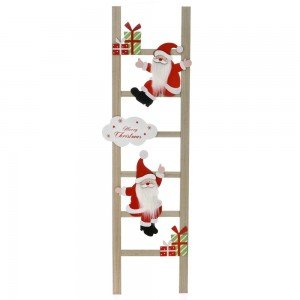 Διακοσμητική ξύλινη σκάλα με τον Άγιο Βασίλη 29x2x100 εκ