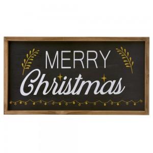 Ξύλινη διακοσμητική πινακίδα merry Christmas 45x24 εκ
