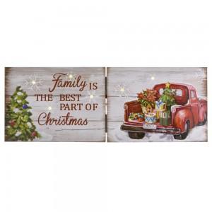 Ξύλινη διπλή πινακίδα διακοσμητική family is the Best Part of Christmas με φως 40x2,5x15 εκ