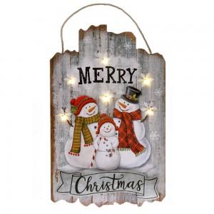 Διακοσμητικη ξύλινη χριστουγεννιάτικη πινακίδα χιονάνθρωπος με φως 24x1x40 εκ