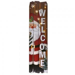 Διακοσμητικη ξύλινη κρεμαστή πινακίδα με τον Άγιο Βασίλη και φωτάκια στο εσωτερικό 23x2x90 εκ