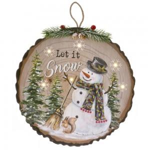 Ξύλινη κρεμαστή διακοσμητική πινακίδα με τον χιονάνθρωπο φωτιζόμενη 29x2x29 εκ