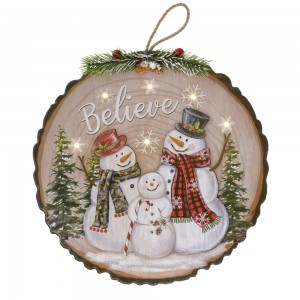 Διακοσμητική ξύλινη κρεμαστή πινακίδα κορμός με χιονάνθρωπο και φως 29x2x29 εκ