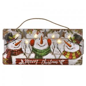 Διακοσμητικη ξύλινη πινακίδα χιονάνθρωποι και με φως 54x2x24 εκ