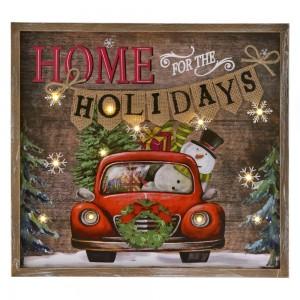 Χριστουγεννιάτικη ξύλινη κρεμαστή πινακίδα διακοσμητική mass αυτοκίνητο με φως led φωτάκια 37x3x34 εκ