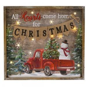 Χριστουγεννιάτικη ξύλινη κρεμαστή πινακίδα διακοσμητική χιονάνθρωπος με φως led φωτάκια 37x3x34 εκ