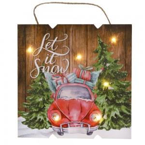 Διακοσμητική ξύλινη χριστουγεννιάτικη κρεμαστή πινακίδα με αυτοκίνητο let it snow με led φωτάκια 24x2x24 εκ