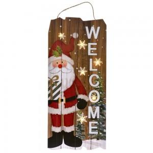 Χριστουγεννιάτικη ξύλινη πινακίδα κρεμαστή διακοσμητική Άγιος Βασίλης welcome με led φωτάκια 22x2x50 εκ