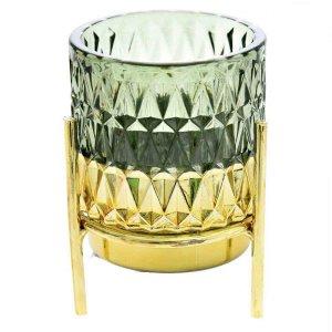 Γυάλινο κηροπήγιο με χρυσή βάση σε πράσινο χρώμα σετ 4 τεμ 7x10 εκ