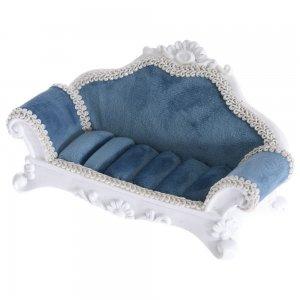 Καναπές βάση μπιζού μπλε βελούδο 16x7x7εκ