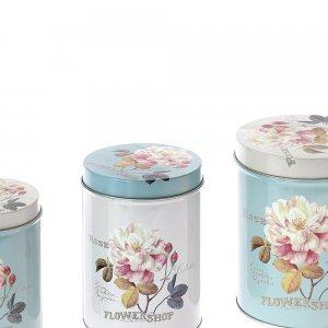 Κουτί αποθήκευσης σετ 3 τεμ με λουλούδια