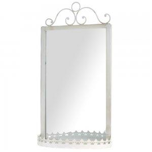 Λευκός antique καθρέφτης με ραφι 26x14x49 εκ