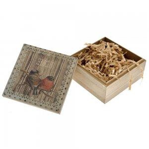 Ξύλινο κουτί με πουλάκια σετ των τριών