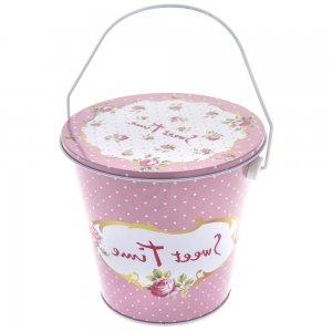 Floral κουτί μεταλλικό με καπάκι σε ροζ χρώμα12x13 εκ