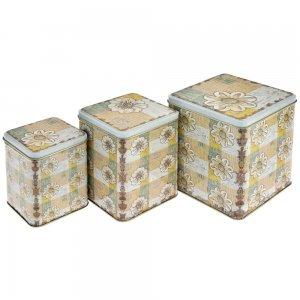Κουτιά μεταλλικά floral σετ των τριών σε διαφορετικά μ&eps