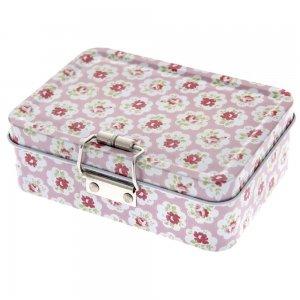 Κουτί vintage με κούμπωμα floral ροζ 13x9x4 εκ