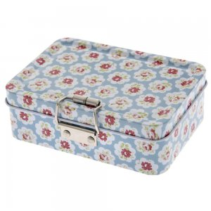 Vintage κουτί με κούμπωμα floral με γαλάζιο φόντο 13x9x4 εκ