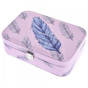 Ροζ μπιζουτιέρα με μπλε φτερό 22x15x7 εκ