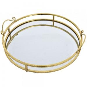 Διακοσμητικός δίσκος καθρέπτης με χρυσό μεταλλ&