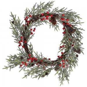 Χριστουγεννιάτικο διακοσμητικό στεφάνι με κόκκινους καρπούς και κουκουνάρια 36 εκ