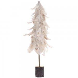 Διακοσμητικό Χριστουγεννιάτικο δέντρο με κρεμ πούπουλα σε ξύλινη βάση 25x66 εκ