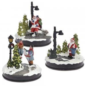 Σετ των τριών φωτιζόμενα Χριστουγεννιάτικα σκηνικά σε διάφορα σχέδια με μπαταρία 12x9x13 εκ