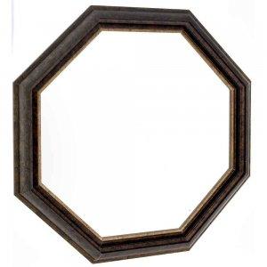 Πολύγωνος καθρέπτης σε καφέ και χρυσές αποχρώσεις pp πλαίσιο 60x60 εκ