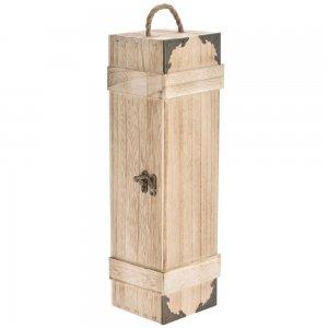 Μονή μπουκαλοθήκη  ξύλο σε φυσικό χρώμα με μεταλλ&io
