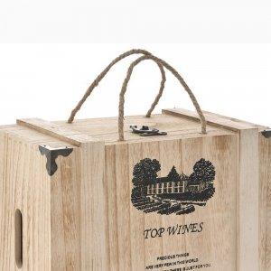 Καφάσι ξύλινο σε φυσικό χρώμα για έξι μπουκάλια 35x27x18 ε&kapp