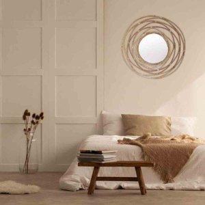 Ethnic καθρέφτης τοίχου από μπαμπού σε φυσικό χρώμα 60 εκ