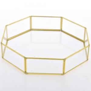 Διακοσμητικός δίσκος γυάλινος με χρυσό πλαίσι&omicro