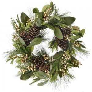 Χριστουγεννιάτικο πράσινο στεφάνι με κουνουνάρια και χρυσά berries 65 εκ