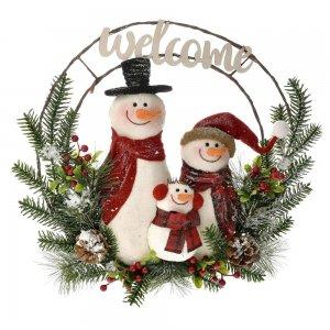 Χριστουγεννιάτικο διακοσμητικό στεφάνι με χιονάνθρωπους 70x11x70 εκ