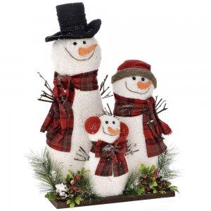 Επιτραπέζιο χριστουγεννιάτικο διακοσμητικό με χιονανθρώπους 45x15x54 εκ