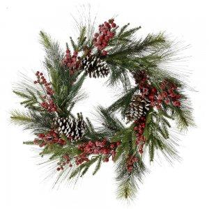 Χριστουγεννιάτικο χιονισμένο στεφάνι με κουκουνάρια και κόκκινα berries 65 εκ
